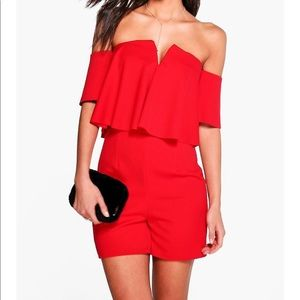 Kairl Frill Off The Shoulder Playsuit/ boohoo tall